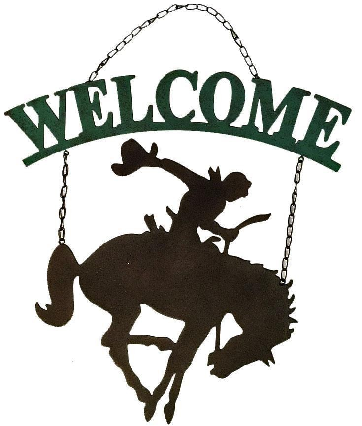 Western Welcome Sign - Cowboy & Bucking Horse - Sale