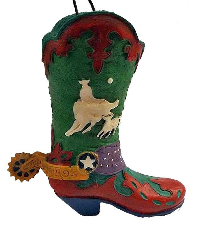 Wild West Rodeo Cowboy Boot Ornament- Calf Roper