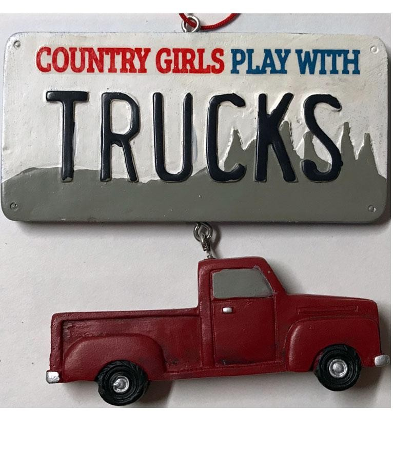 Country Cowgirl Christmas Ornament- Pick Up Truck