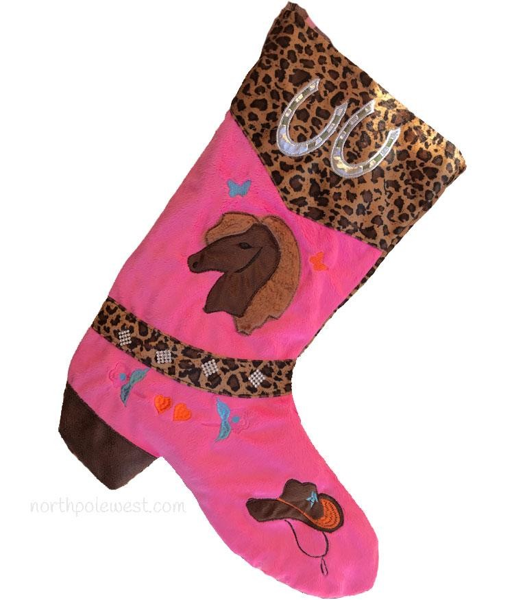 Cowboy Boot Christmas Stocking - Pink & Leopard Print-