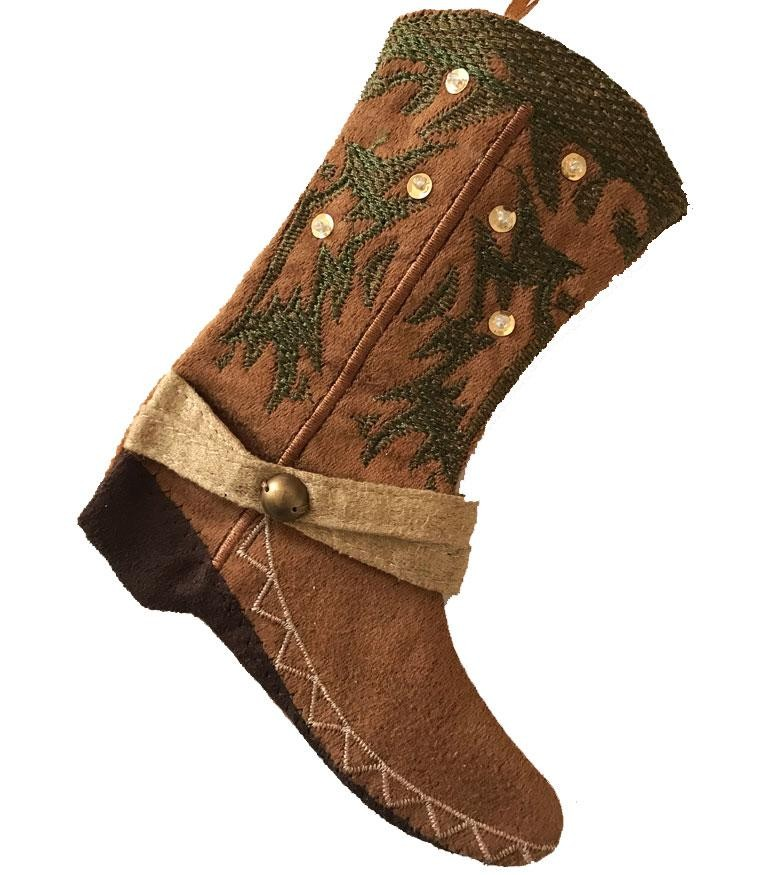 Cowboy Boot Stocking - Brown with Sequins -