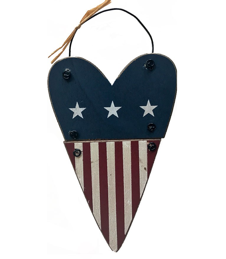 Red White & Blue Heart Ornament -style 2
