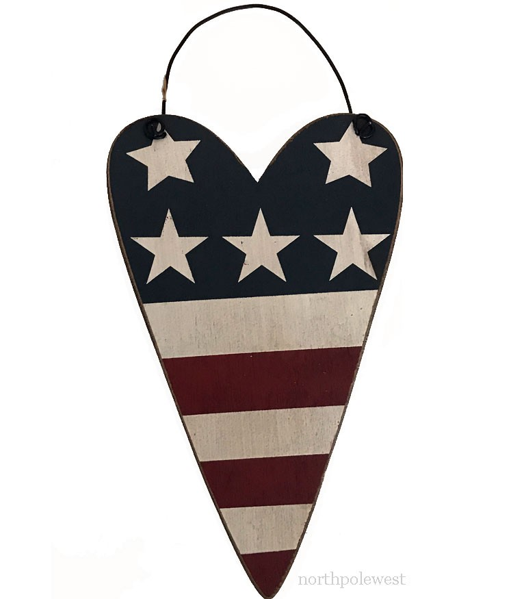 Red White & Blue Rustic Flag Heart Ornament