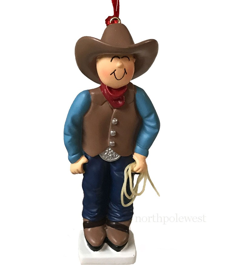 Cowboy with Brown Hat Ornament -