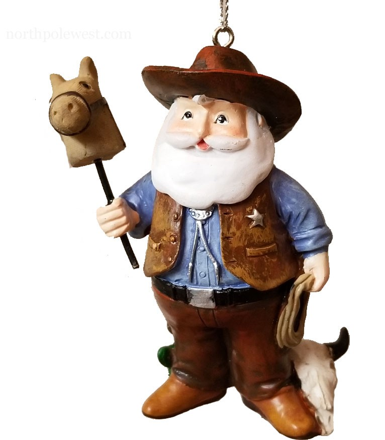 'Wild West Sheriff Santa' -  Cowboy Santa Ornament