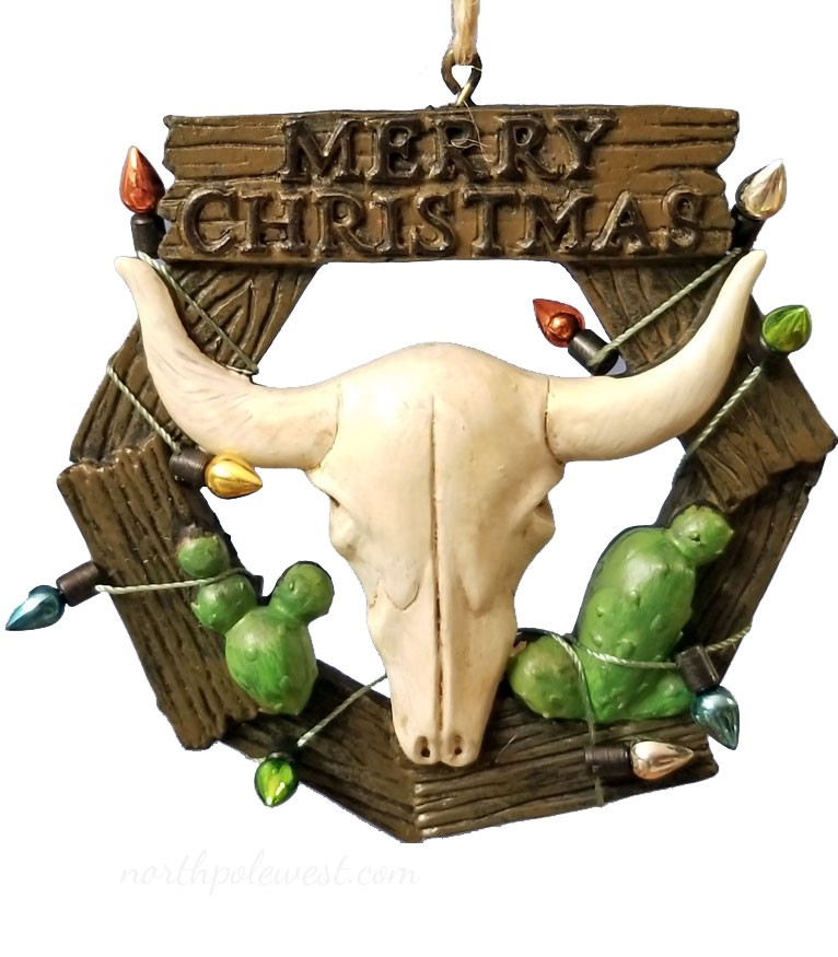 Steer Skull Longhorn Merry Christmas