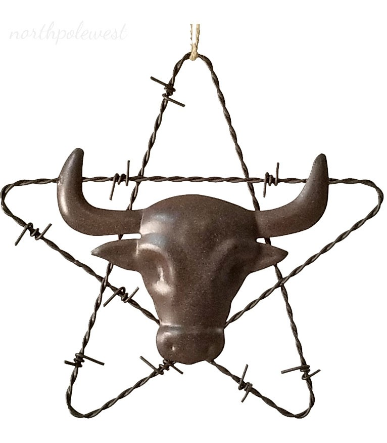 Barbed Wire Star with Longhorn Ornament -