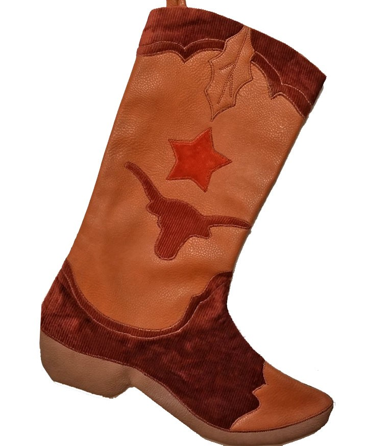 Cowboy Boot Christmas Stocking - Chocolate Longhorn