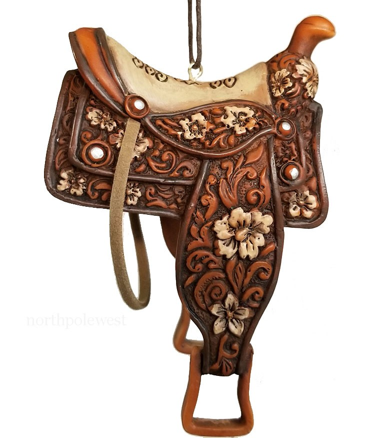 Fancy Cowgirl Saddle Ornament