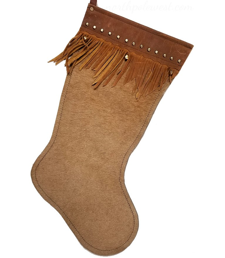 'Cowhide Bells ' Western Christmas Stocking