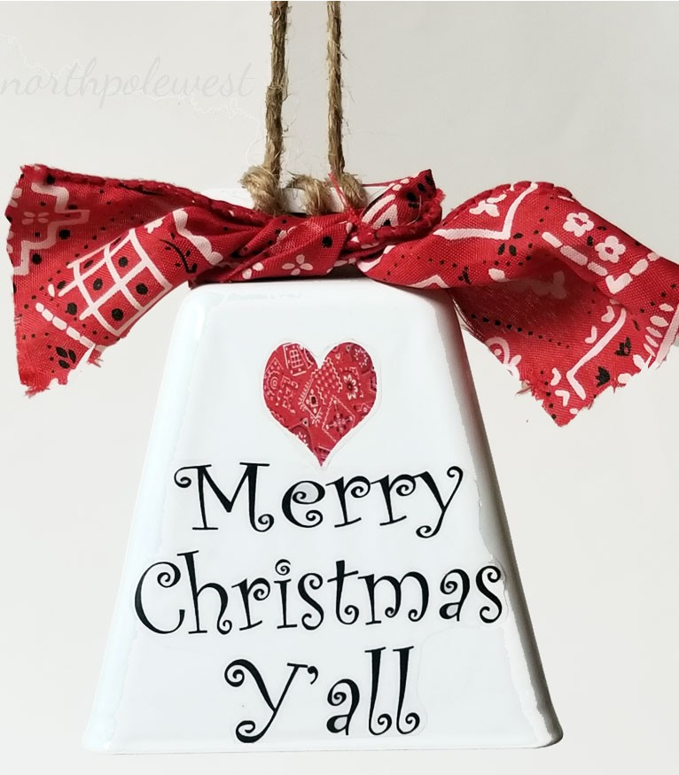 Merry Christmas Yall.Cowbell Merry Christmas Y All Ornament